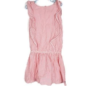 Nautica Girls Pink Ruffle Striped Dress Size 7